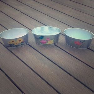 Matching Set of Tin Butterfly and Flower Planters